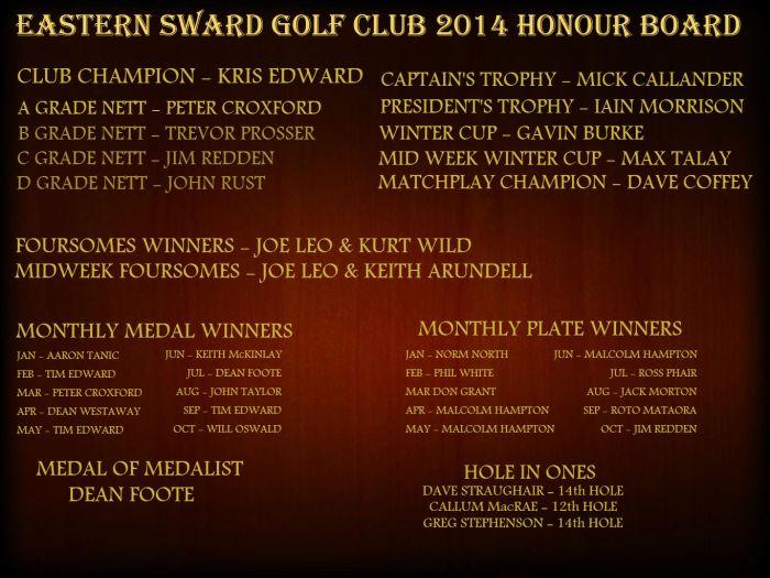 2014 Honour board